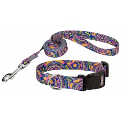 Blue Boho Mandala Deluxe Dog Collar & Leash