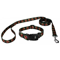 Black Candy Cane Deluxe Dog Collar & Leash