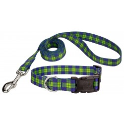 Blue and Green Plaid Deluxe Dog Collar & Leash