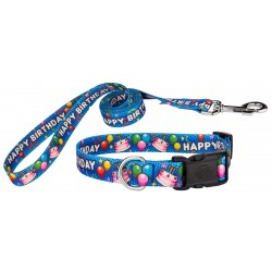 Blue Happy Birthday Deluxe Dog Collar & Leash