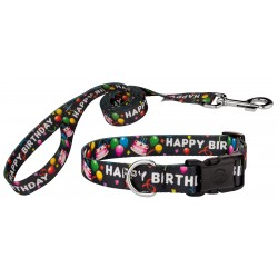 Black Happy Birthday Deluxe Dog Collar & Leash