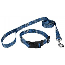 Blue Paisley Deluxe Dog Collar & Leash