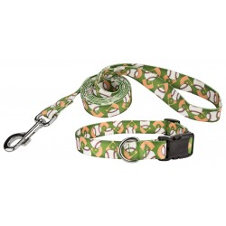 Baseball Deluxe Dog Collar & Leash