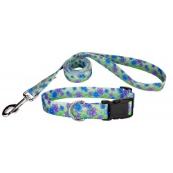 Blue April Blossoms Deluxe Dog Collar & Leash