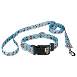 Caroling Snowmen Deluxe Dog Collar & Leash