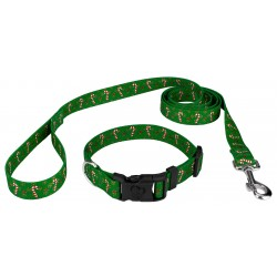 Candy Cane Christmas Deluxe Dog Collar & Leash