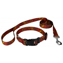 Fire Paisley Deluxe Dog Collar & Leash