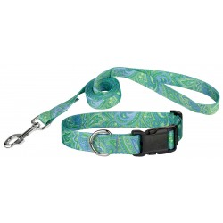 Green Paisley Deluxe Collar & Leash