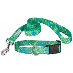Green Paisley Deluxe Featherweight Dog Collar & Leash - Mini