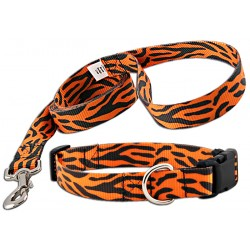 Orange Tiger Stripe Deluxe Collar & Leash