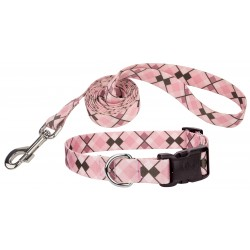 Pink and Brown Argyle Deluxe Dog Collar & Leash