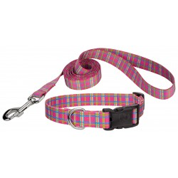 Deluxe Bubblegum Pink Plaid Featherweight Dog Collar & Leash - Extra Small