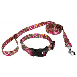 Pink Paisley Deluxe Collar & Leash