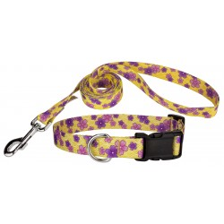 Purple April Blossoms Deluxe Dog Collar & Leash