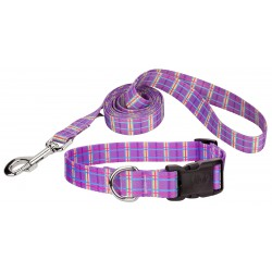 Deluxe Grape Plaid Featherweight Dog Collar & Leash - Extra Small