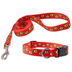 Red Busy Paws Deluxe Collar & Leash