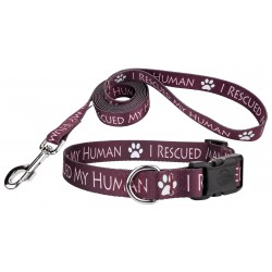 I Rescued My Human Deluxe Dog Collar & Leash