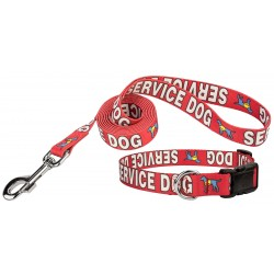 Red Service Deluxe Dog Collar & Leash