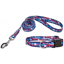 Star Spangled Deluxe Dog Collar & Leash