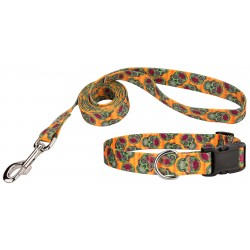 Deluxe Sugar Skulls Featherweight Dog Collar & Leash - Extra Small