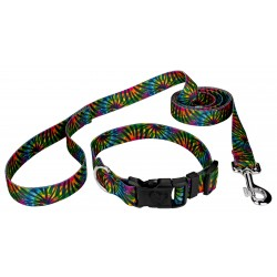Tie Dye Stripes Deluxe Dog Collar & Leash