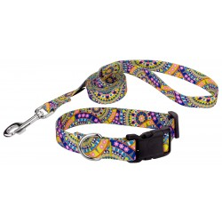 Yellow Boho Mandala Deluxe Dog Collar & Leash
