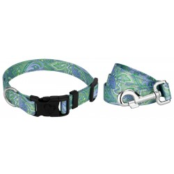 Green Paisley Reflective Deluxe Dog Collar & Leash