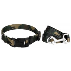 Deluxe Woodland Camo Reflective Dog Collar & Leash