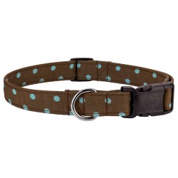 Deluxe Brown & Turquoise Polka Dots Designer Dog Collar