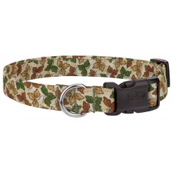 Deluxe Tan with Leaves Designer Dog Collar