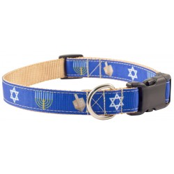 Deluxe Hanukkah Ribbon Dog Collar