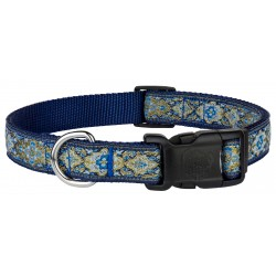 Deluxe Blue and Gold Flower Ribbon Dog Collar