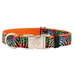 Premium Tie Dye Stripes Ribbon Dog Collar