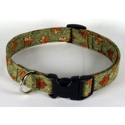 Deluxe Green with Leaves Designer Dog Collar