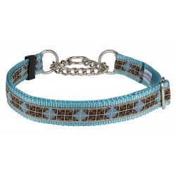 Blue & Brown Diamond Ribbon on Ocean Blue Half Check Dog Collar Closeout