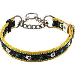 Edelweiss Half Check Grosgrain Ribbon Dog Collar