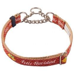 Feliz Navidad Grosgrain Ribbon Half Check Dog Collar Limited Edition