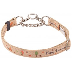 Happy Thanksgiving Grosgrain Ribbon Half Check Dog Collar Limited Edition