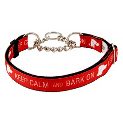 Keep Calm and Bark on Grosgrain Ribbon Half Check Collar Limited Edition