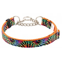 Tie Dye Stripes Grosgrain Ribbon Half Check Dog Collar