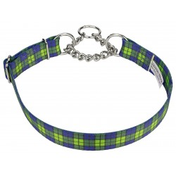 Blue and Green Plaid Half Check Dog Collar