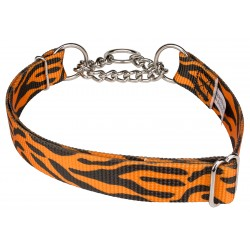 Orange Tiger Stripe Half Check Dog Collar