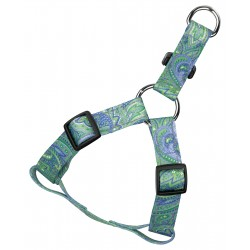 Green Paisley Reflective Step-In Dog Harness