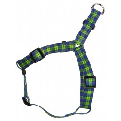 Blue and Green Plaid Step-In Dog Harness