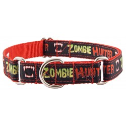Zombie Hunter Grosgrain Ribbon Martingale Dog Collar