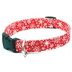 Deluxe Red Snowflakes Designer Dog Collar