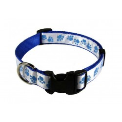 Deluxe Blue Paws Ribbon Dog Collar