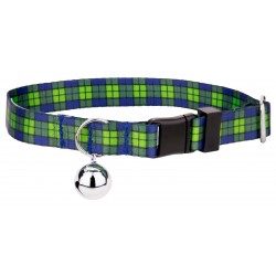 Blue and Green Plaid Cat Collar