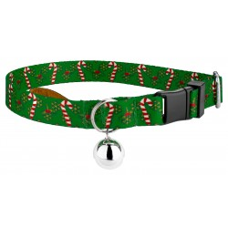 Candy Cane Christmas Featherweight Cat Collar