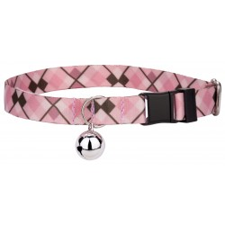 Pink and Brown Argyle Cat Collar